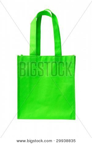 Green Shopping Bag with Handle on White Background