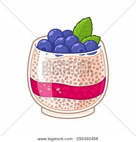Chia Seed Pudding In Glass With Fresh Blueberries And Raspberry Jam Layer. Healthy Superfood Breakfa