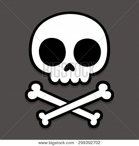 Cute Stylized Cartoon Skull And Crossbones Doodle. Simple Hand Drawn Jolly Roger Sign, Vector Illust