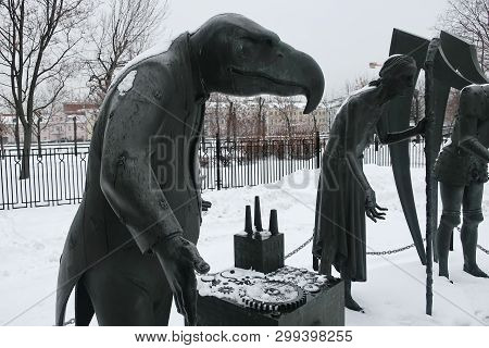 Moscow, Russia - Feb 03, 2019: Children Are Victims Of Adult Vices. Sculptural Composition As An All