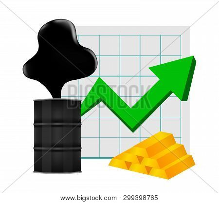 Crude Oil With Pointing Up Graph And Gold Bar Symbol Green Arrow Isolated White Background, Black Me