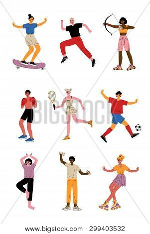 Collection Of Young People Doing Different Kinds Of Sports, Professional Athletes Characters In Spor