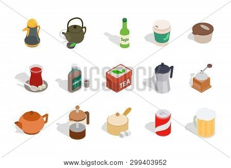 Drinks icon set. Isometric set of drinks icons for web design isolated on white background poster