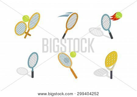 Tennis Racquet Icon Set. Isometric Set Of Tennis Racquet Icons For Web Design Isolated On White Back