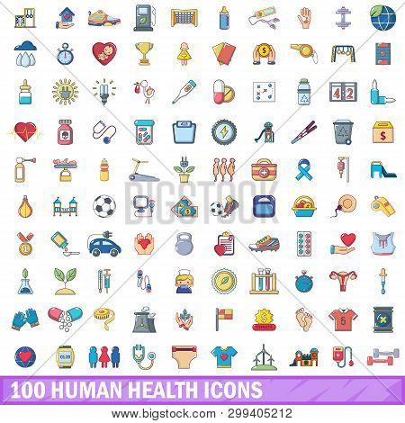 100 Human Health Icons Set. Cartoon Illustration Of 100 Human Health Icons Isolated On White Backgro