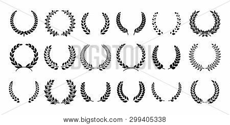 Silhouette Laurel Wreath. Greek Olive Branch, Champion Award Emblems, Leaves Round Prizes Symbols. V