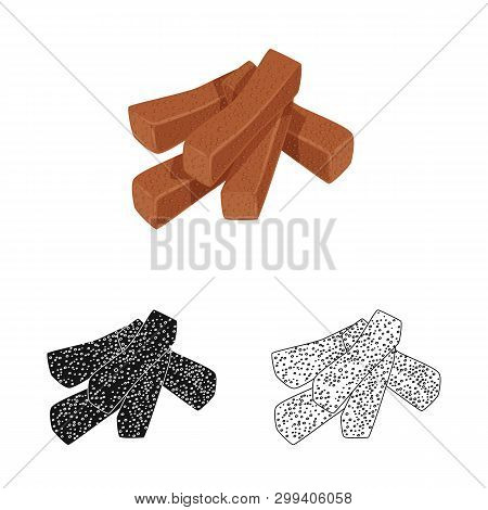 Vector Design Of Croutons  And Bread Symbol. Set Of Croutons  And Crackers  Stock Symbol For Web.