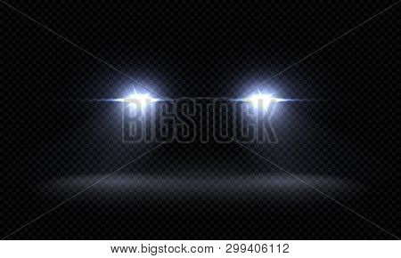 Realistic Car Headlights. Train Front Light Beams, Transparent Bright Glowing Light Rays, Night Road