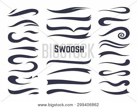 Swooshes And Swashes. Underline Swish Tails For Sport Text Logos, Swirl Calligraphic Font Line Decor