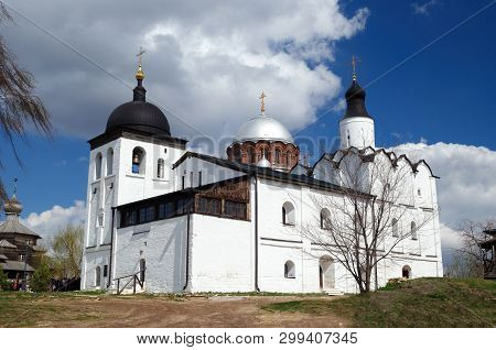 Church of St. Sergius of Radonezh in Sviyazhsk is made in the old pskov style. poster