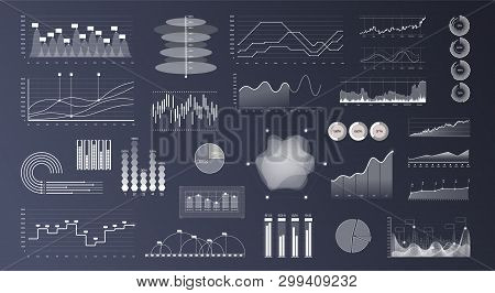 Linear Graph Chart. Marketing Investment Isolated Vector Sign Set. Thin Line Charts, Modern Statisti