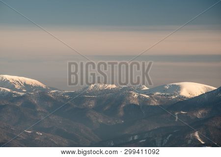 View To Rakytov, Cierny Kamen And Ploska Hills From Other Lowerss Hills Of Velka Fatra Mountains On