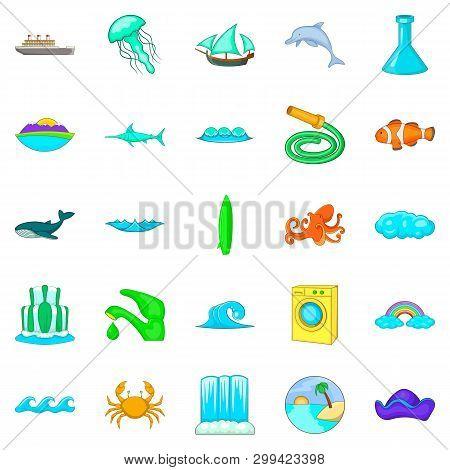 Backwash Icons Set. Cartoon Set Of 25 Backwash Icons For Web Isolated On White Background