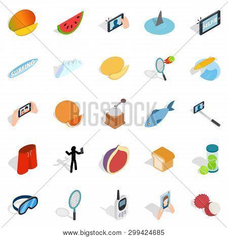 Vigorous Icons Set. Isometric Set Of 25 Vigorous Icons For Web Isolated On White Background