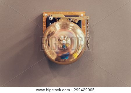 Retro Bronze Gong. Boxing Gong. Vintage Gong Alloy. Old Bell Gong On Wall. Boxing Bell. Result Alarm