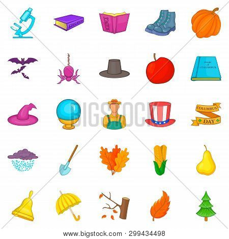 Autumn Weahter Icons Set. Cartoon Set Of 25 Autumn Weahter Icons For Web Isolated On White Backgroun