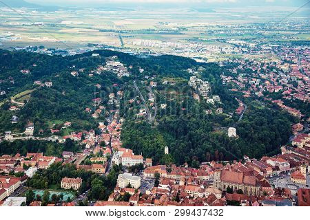 Aerial View Of The Old Town Brasov In Transylvania, Romania