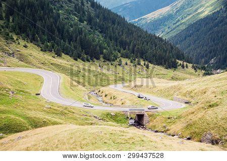 Transfagarasan Mountain Road. One Of The Most Beautiful Roads In Europe, Romania