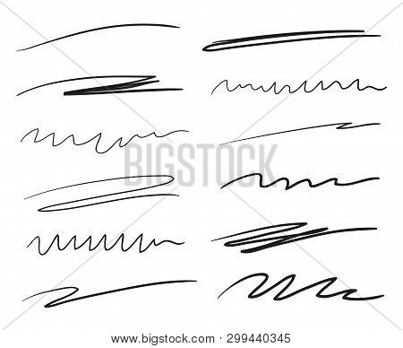 Hand Drawn Underlines On White. Abstract Backgrounds With Array Of Lines. Stroke Chaotic Patterns. B