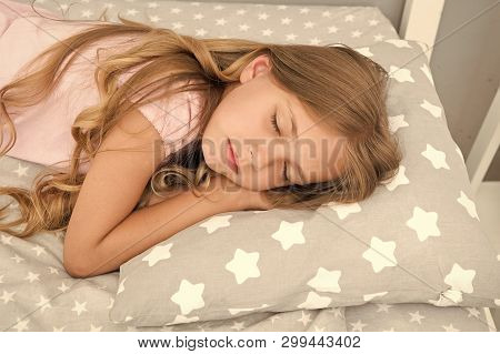 Sweet Dreams. Girl Child Long Hair Fall Asleep Close Up. Quality Of Sleep Depends On Many Factors. C