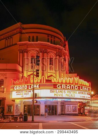 Oakland, California -- May 4, 2019: Evening At The Grand Lake Theatre, A Historic Movie Palace Locat