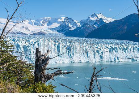 Amazing View Of Perito Moreno Glacier, Blue Ice Burg Glacier From Peak Of The Mountain Through The A