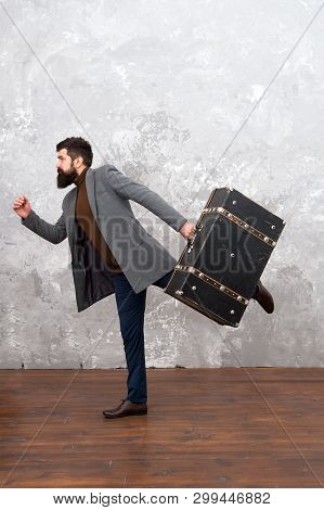 Man In A Hurry. Hurry Up. Man With Big Travel Bag Is In Hurry. Rush Hour. Businessman Running. Busin