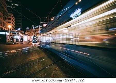 Long Exposure Shot Of Zagreb City, Croatia.