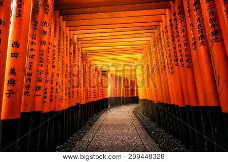 Kyoto, Japan - September 25 2018: Red Torii Gates In Fushimi Inari Shrine In Kyoto, Japan. It Is The