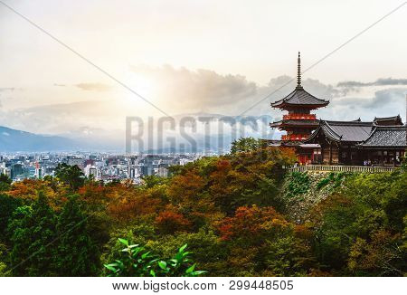 Kiyomizu-dera Buddhism Temple And Kyoto, Japan.