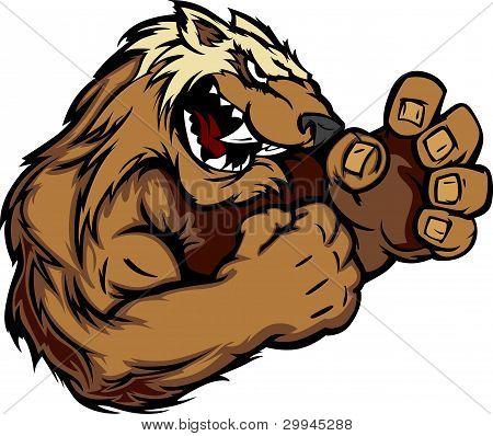 Gráficos Vector de la imagen de Wolverine o mascota de tejón con manos que luchan