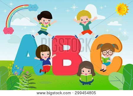 Cartoon Children With Abc Letters, School Kids With Abc, Children With Abc Letters,vector Illustrati