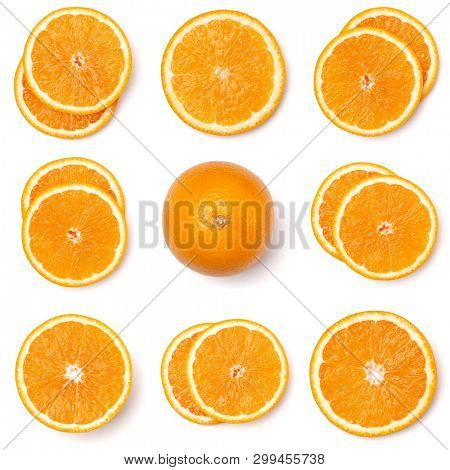 Seamless pattern of orange fruit slices. Orange slices isolated on white background. Food background. Flat lay, top view.