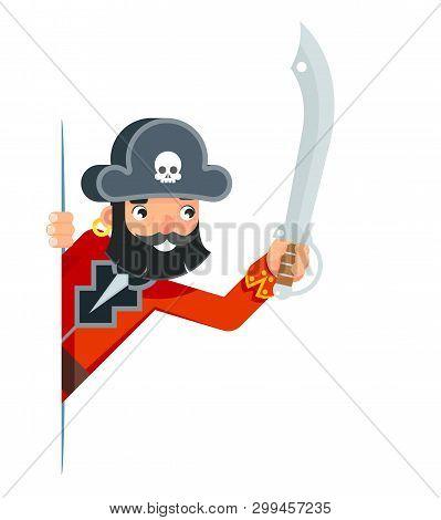Saber sword sea dog pirate buccaneer filibuster corsair look out corner concept cartoon character flat design vector illustration poster