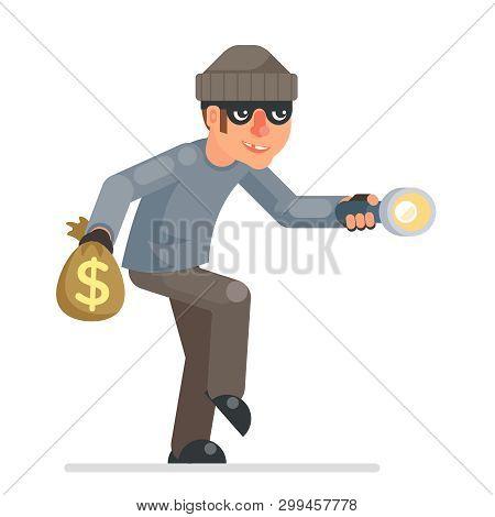 Sneak Picklock Housebreaker Thieves Keys Flashlight Hand Sneak Evil Greedily Thief Cartoon Rogue Bul