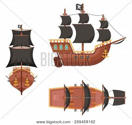 Wooden Pirate Buccaneer Filibuster Corsair Sea Dog Sailing Ship Game Icon Isolated On White Flat Des