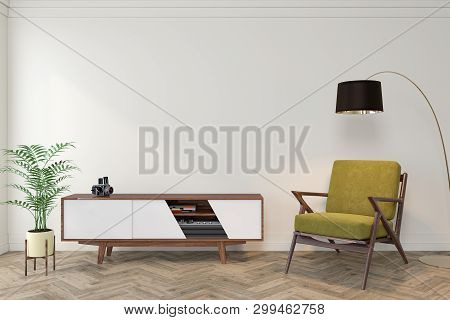 Mid Century Modern Interior Empty Room With White Wall, Dresser, Console, Yellow Lounge Chair, Armch