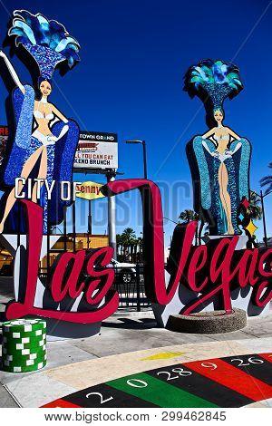Las Vegas,nv/usa - Sep 17,2018:new Gate Sign Of City Of Las Vegas Near Stratosphere Hotel & Casino I