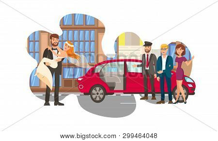 Married Couple, Newly Weds Flat Color Illustration. Man In Tuxedo And Young Woman In Bridal Dress Ca