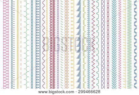 Sewing Seams Patterns. Embroidery Craft Sew Pattern, Fashion Seam Brush And Colorful Stitches Stitch