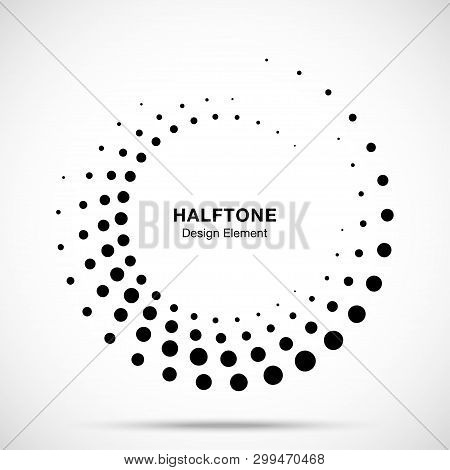 Halftone Circle Dotted Frame Circularly Distributed. Vector Dots Logo Emblem Design Element. Round B