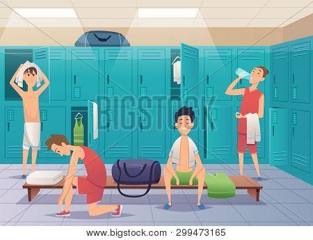 School Locker Room. Sport Gym Locker With Kids In College Vector Cartoon Background. Locker Room Gym