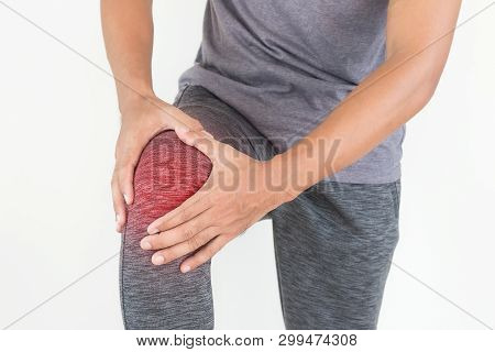 Young Man With Hands Holding Knee Pain Isolated On White Background.