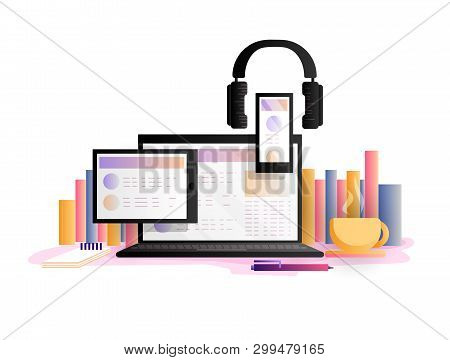 Online Education Concept, Vector Illustration. Study, Learning Online With Laptop, Tablet, Smartphon
