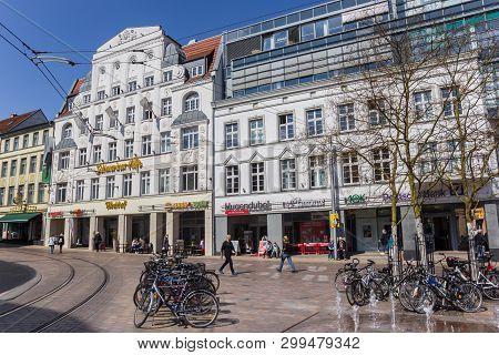 Schwerin, Germany - April 16, 2019: Shops And Restaurant At The Marienplatz Square In Schwerin, Germ