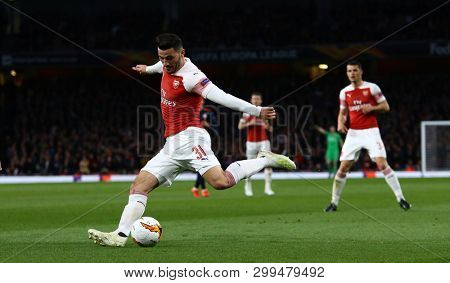 LONDON, ENGLAND - MAY 02 2019: Sead Kolasinac of Arsenal during the Europa League semi final leg one match between Arsenal and Valencia.
