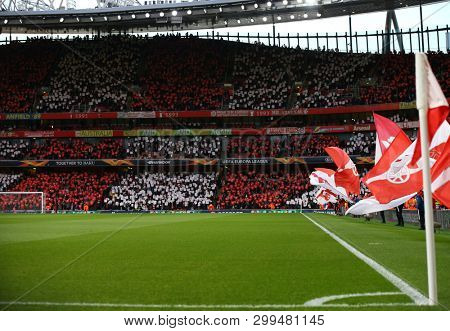 LONDON, ENGLAND - MAY 02 2019: A general view during the Europa League semi final leg one match between Arsenal and Valencia.