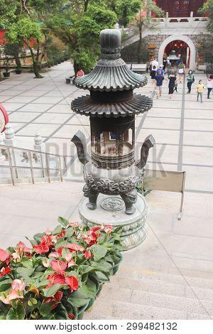 Nongping, Hongkong - 29 March 2019 Closeup Of Incense Burner On 29 March, 2019