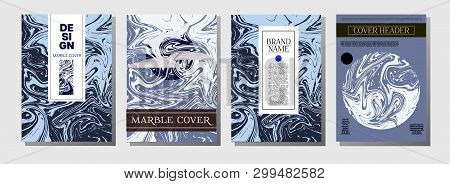Purple Blue Marble Ink Texture Cover Collection. A4 Vector Liquid Paint Fashion Magazine Design. Ebr