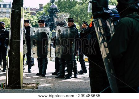 Paris France May 04, 2019 View Of A Riot Squad Of The French National Police In Intervention During